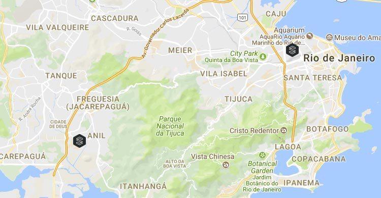 Mapa localização das unidades da SS Self Storage no Rio de Janeiro
